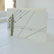 Jacky Al-Samarraie Birds on a Wire Grey Letterpress Greeting Card