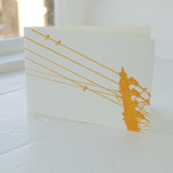 Jacky Al-Samarraie Birds on a Wire Orange Letterpress Greeting Card
