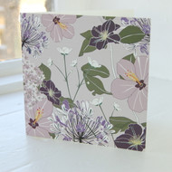 Agapanthus & Clematis Greeting Card