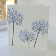 Agapanthus Letterpress Greeting Card