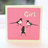 Magpie Girl Greeting Card