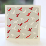 Flying Ducks Red Greeting Card