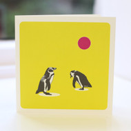 Penguins Lime Greeting Card