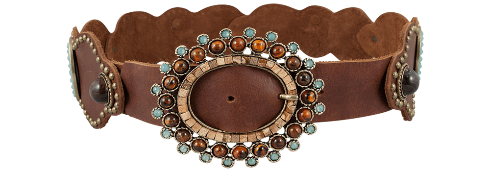 Vintage Scalloped Belt- Brown
