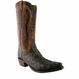 Lucchese Mens Full Quill Ostrich Boots -  Sienna Brown