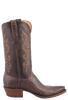Lucchese Men's Matte Chocolate Ostrich Leg Boots - Side
