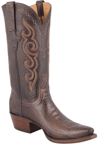 Lucchese Men's Matte Chocolate Ostrich Leg Boots - Hero