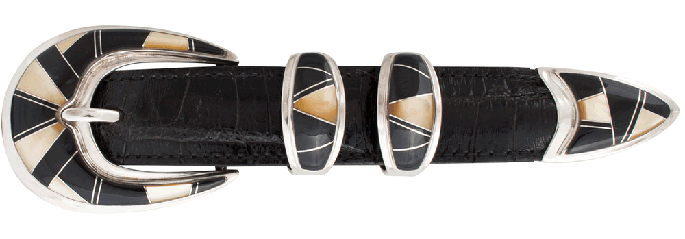 "B.G. Mudd Black Oynx and Mother of Pearl 1"" Buckle Set"