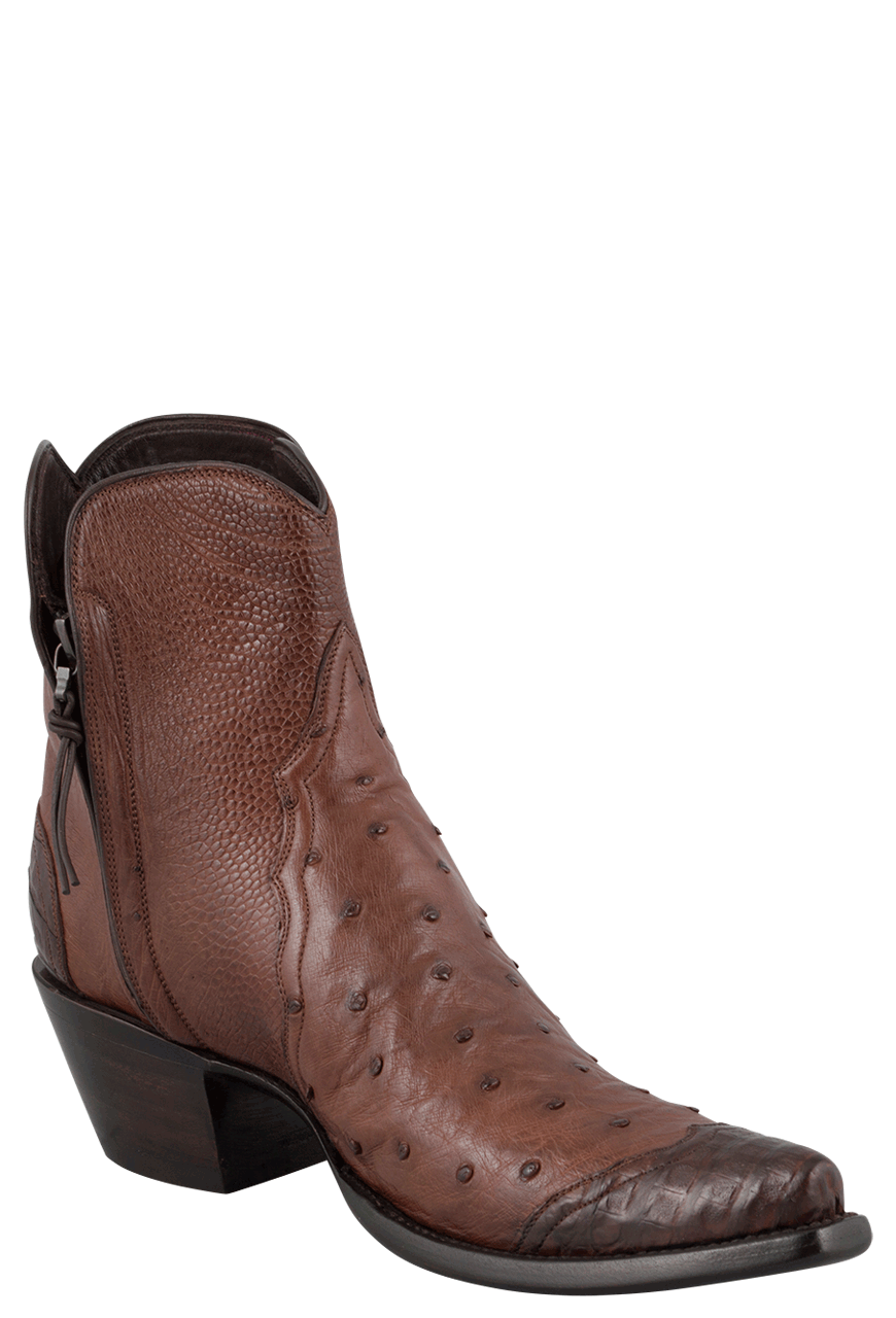 STALLION WOMEN'S ZORRO TOBACCO OSTRICH AND CAIMAN WINGTIP ANKLE BOOTS