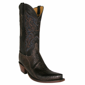 Lucchese Women's Matte Chocolate Python Boots