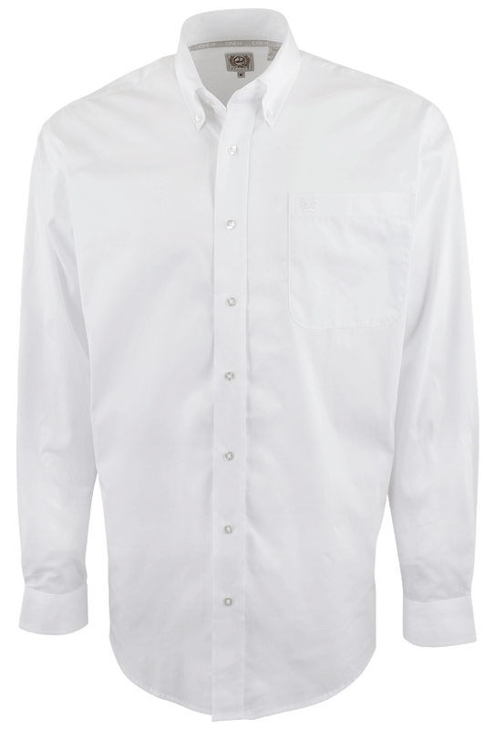 Cinch White Solid Button Down Shirt Pinto Ranch