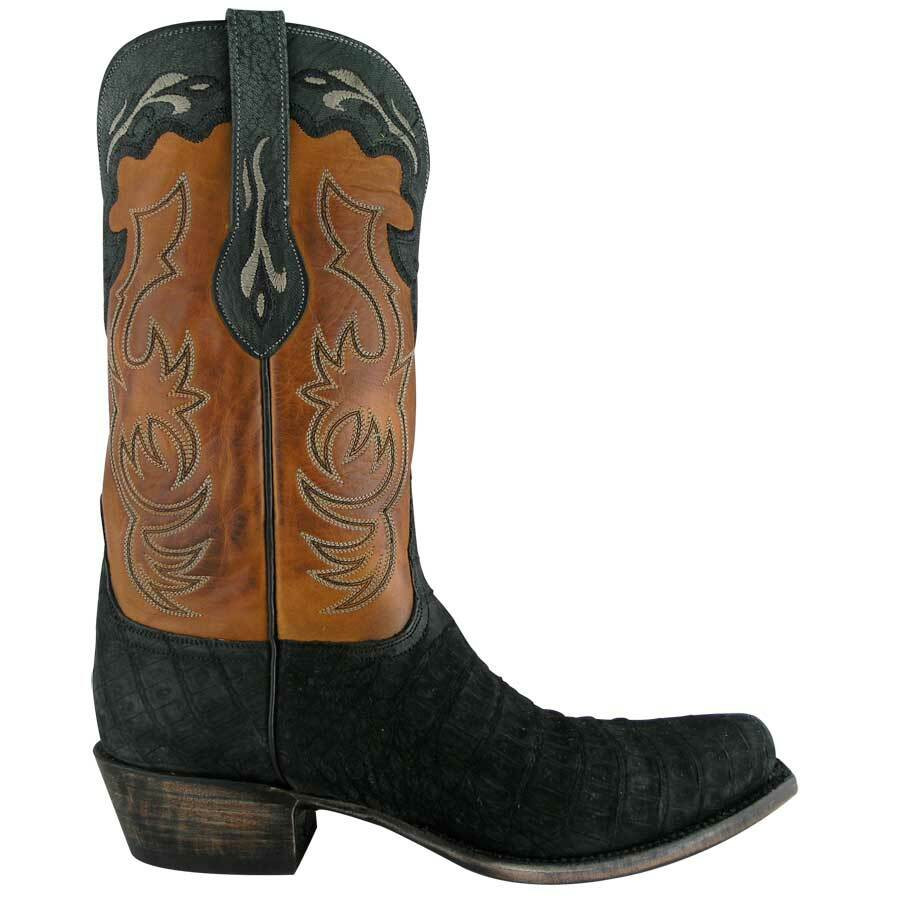 Lucchese Mens Caiman Boots Black Suede Pinto Ranch