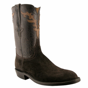 Lucchese Mens Suede Elephant Roper Boots - Chocolate