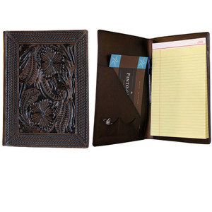 Office - Tooled Notepad Holder - Brown - Hero