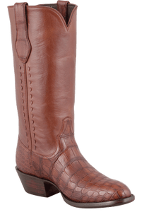 Stallion Men's Antique Cognac American Alligator Boots - Hero