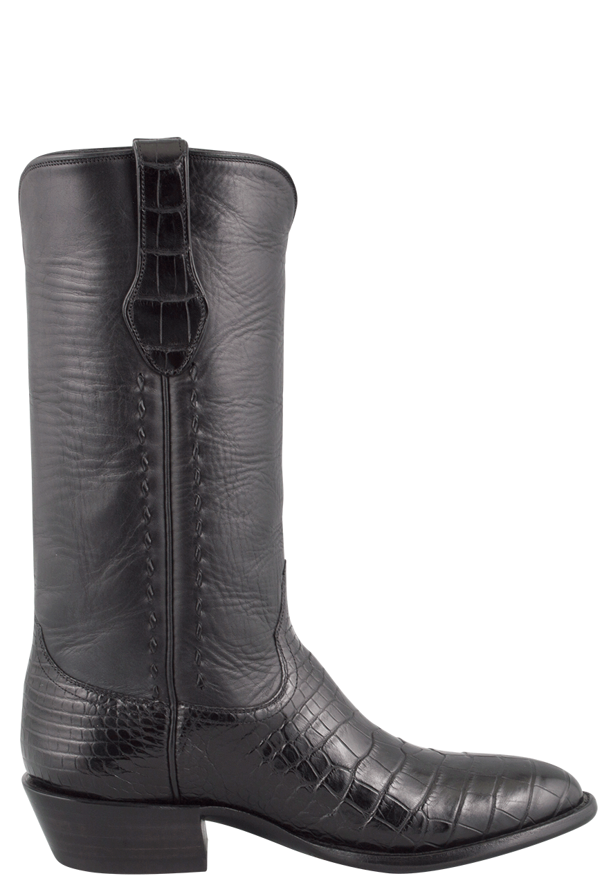 Stallion Men S Black American Alligator Boots Pinto Ranch