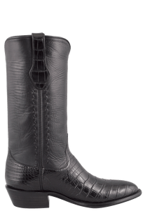 Stallion Men's Black American Alligator Boots - Side