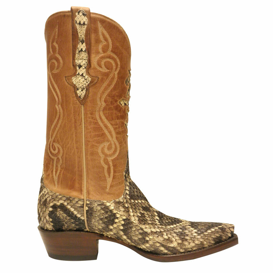 Lucchese Mens Eastern Rattlesnake Boots Pinto Ranch