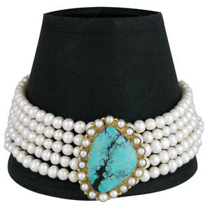 Necklace - Fresh Water Pearl and Turquoise Choker