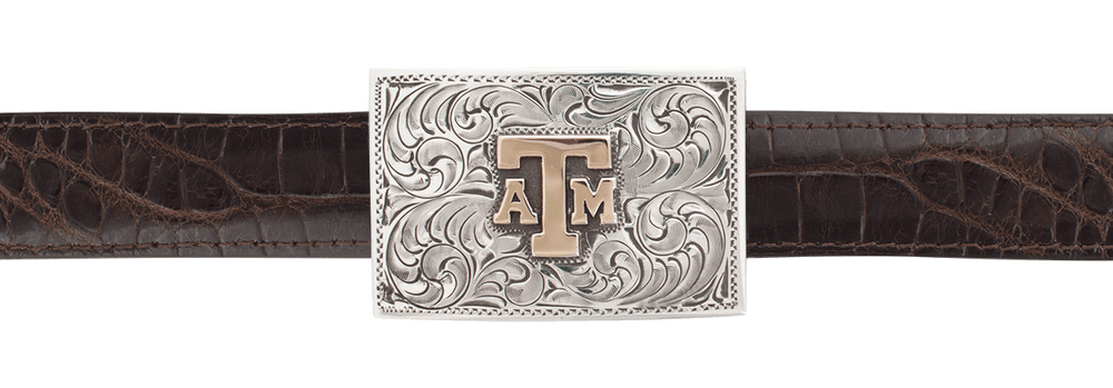 "Texas A&M University Gold and Silver 1"" Trophy Buckle"