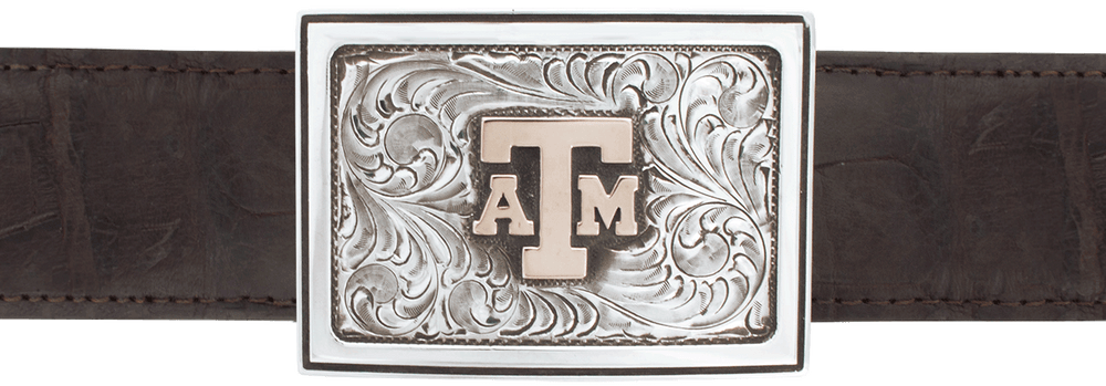 "Texas A&M University Gold and Silver 1 1/2"" Trophy Buckle"