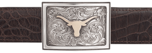 "University of Texas Bevo Gold and Silver Engraved 1 1/2"" Trophy Buckle"