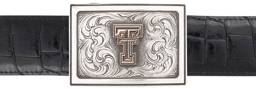 "Texas Tech University Gold and Silver Engraved 1 1/2"" Trophy Buckle"