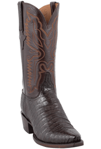 Lucchese Mens Ultra Caiman Crocodile Boots - Chocolate with Snip Toe - Hero