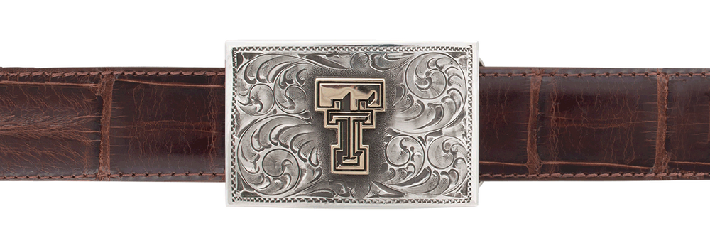 "Texas Tech University Gold and Silver 1"" Trophy Buckle"