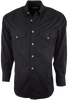 Stubbs - Mens Solid Western Shirt - Black - Front
