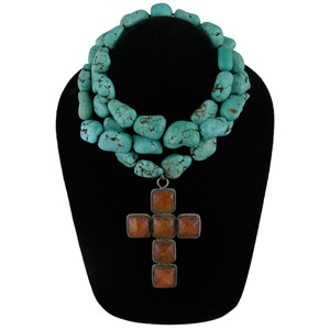 Necklace - Turquoise and Carnelian Cross Necklace