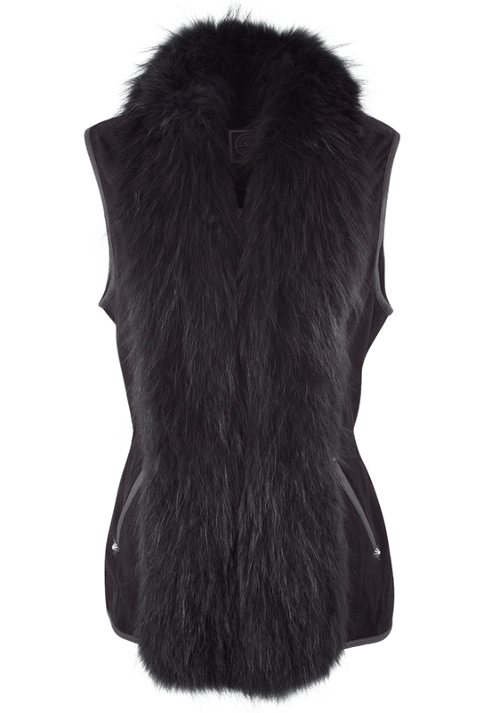 Double D Ranch Suede Fur Collared Vest - Black - Front