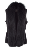 Double D Ranch Suede Fur Collared Vest - Black - Hero
