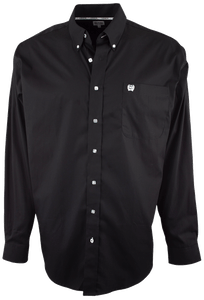 Cinch Black Solid Button-Down Shirt - Front