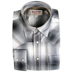 Miller Ranch - Long Sleeve Gray and Brown Plaid Snap Shirt