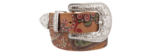 Paisley with Crystal Rhinestones Belt - Brown