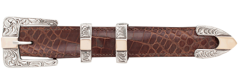 "Pinto Ranch Center Bar Gold and Silver 1"" Buckle Set"