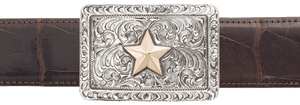 "Pinto Ranch Engraved 14K Gold Star 1 1/2"" Trophy Buckle"