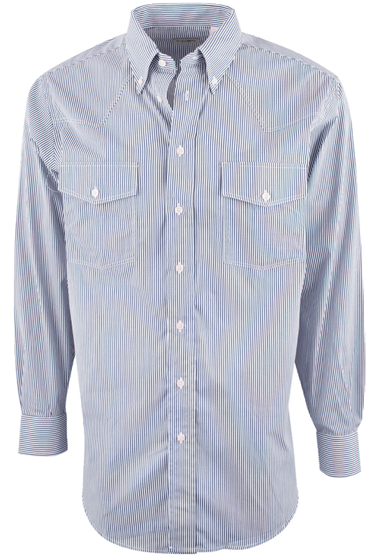 GITMAN BROS. BLUE BENGAL STRIPE SHIRT-FRONT