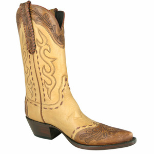 Stallion Women's Cognac Western Tooled Boots
