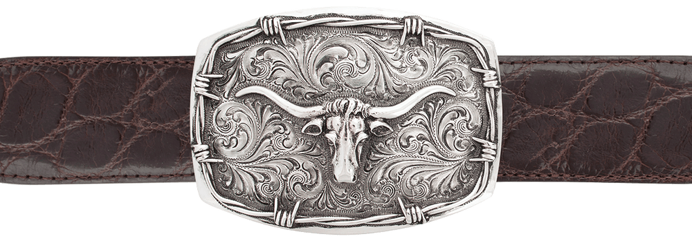 "Silver King Barbed Wire Longhorn 1 1/2"" Trophy Buckle"