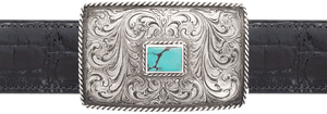 "Silver King Roped Turquoise 1 1/2"" Trophy Buckle"