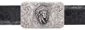 "Silver King Rectangle Indian Chief 1 1/2"" Trophy Buckle"