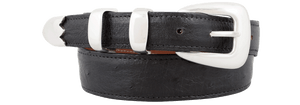 Smooth Ostrich Tapered Belt - Black