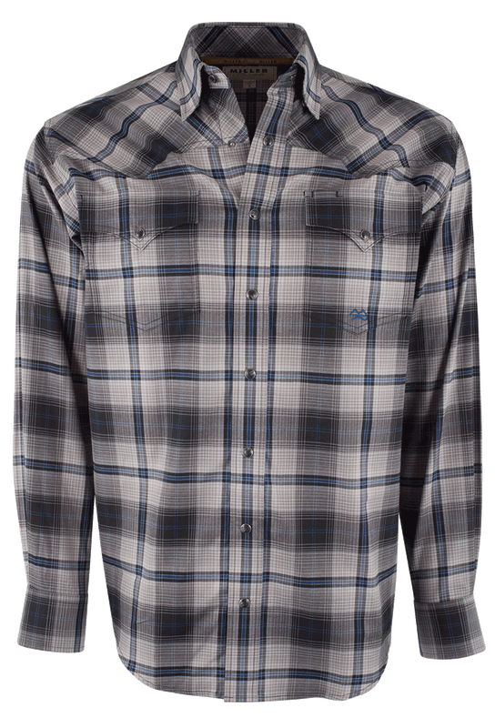 Miller Ranch Gray and Blue Plaid Snap Shirt - Front