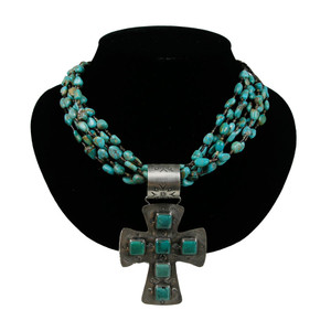 Necklace - Turquoise and Cross Pendant Necklace