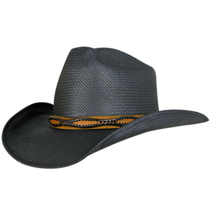 Shady Brady Black Western Straw Hat