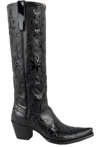 Liberty Boot Co. Women's Black 60's Cowgirl Boots - Side
