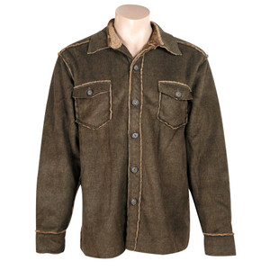 Pebble Sueded Button-Down Jacket - Brown