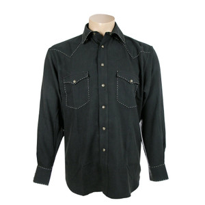 Fonte Snap Shirt with Stitching - Black